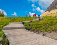 Hikers on the Plank Trail Glacier National Park Royalty Free Stock Photography