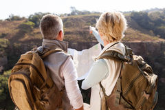 Hikers pointing distance Royalty Free Stock Image