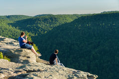 Hikers on Raven Rock in Coopers Rock State Forest WV stock image