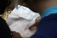 Hikers reading map