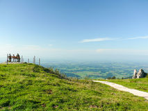 Hikers Resting at the Top of the World stock photography