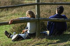 Hikers rests en eat in Dutch nature reserve in Mook royalty free stock photo