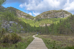 Hikers returning from Pulpit Rock in Norway Stock Image