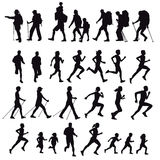 Hikers runners and walkers. An illustration of silhouettes of people hiking, running, walking and doing the Nordic walk with sticks Stock Photography