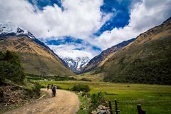 Hikers salkantay trail. The turn in the road on the salkantay trail in Peru Royalty Free Stock Image