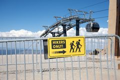 Hikers only sign in Mammoth Mountain Stock Photography