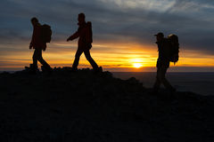 Hikers silhouette Stock Images