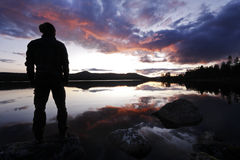 Hikers Silhouette he wilderness of Sweden Stock Image