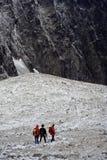 Hikers in snow, High Tatras. Czechoslovakia [Czech Republic, Slovakia royalty free stock photography