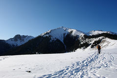 Hikers in the snow. ,Xinjiang Winter scenery Royalty Free Stock Image