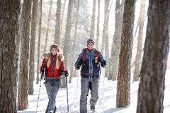 Hikers on snowy winter hiking on mountain Royalty Free Stock Image