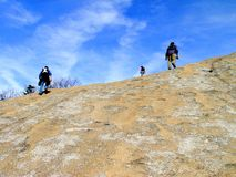 Hikers at Stone Mountain State Park Stock Image