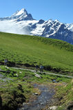 Hikers in the swiss alps Royalty Free Stock Photo