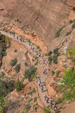 Hikers on the switchbacks of Angels Landing in Zion National Park Stock Image