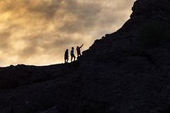 Hikers take a selfie stock images