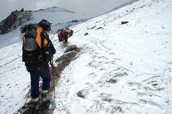 Hikers on their way to Aconcagua Mountain Royalty Free Stock Images