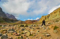 Hikers on their way to Aconcagua Stock Image