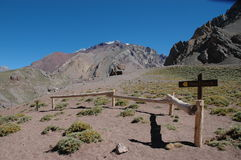Hikers on their way to Aconcagua Royalty Free Stock Photos