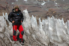 Hikers on their way to Aconcagua Royalty Free Stock Photo