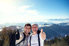 Hikers with thumb up Stock Photo