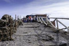 Hikers on top of Mount Vesuvius stock photos