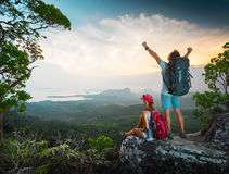 Hikers on top of the mountain Stock Photos