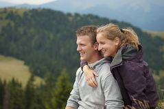 Hikers on the top of mountains Royalty Free Stock Image