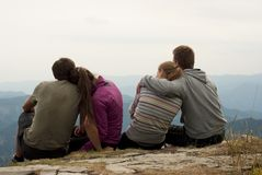 Hikers on the top of mountains Royalty Free Stock Photography