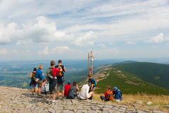 Hikers on the top of Snezka royalty free stock photos
