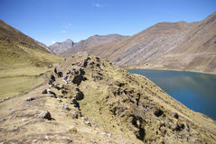 Hikers on trail in high Andes Stock Images
