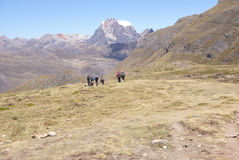 Hikers on trail in high Andes Stock Image