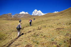 Hikers on trail in high Andes royalty free stock images