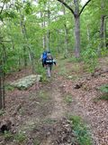 Hikers on the trail in nature hiking backpacking. In southern illinois Stock Photography