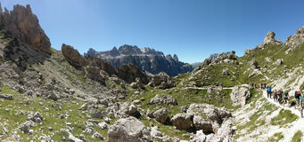 Hikers on trail, Pizes di Cir, Dolomites, Italy Stock Photo