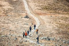 Hikers travel in the Babia Gora Mountain with a backpack. Zawoja, Poland - May 03, 2015: Hikers travel in the Babia Gora Mountain with a backpack Stock Image