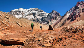 Hikers Trekking In Argentina, South America Royalty Free Stock Photo