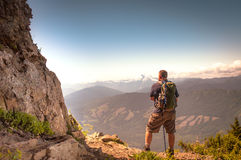 Hikers view. A hiker takes a break to enjoy the view Stock Image