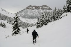 Hikers in snow on mountain stock photo