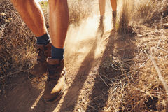 Hikers walking on the country trail Royalty Free Stock Photography