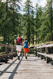 2 hikers walking on a old wood bridge in mountain. Italy royalty free stock photography