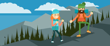 Hikers walking in outdoor. Royalty Free Stock Images
