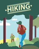 Hikers walking in outdoor. stock illustration