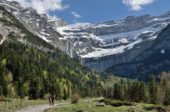 Hikers walking to the cirque of Gavarnie Stock Image
