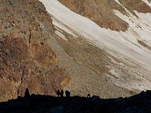 Hikers on wildspitze, otztal alps, austria Stock Photography