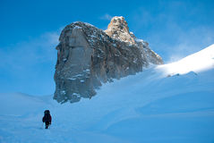 Hikers in winter mountains Stock Image