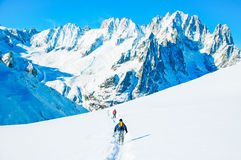 Hikers in winter mountains Royalty Free Stock Image