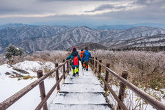 Hikers in winter mountains,Winter landscape white snow of Mounta Stock Photos
