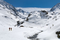 Hikers In Winter Valley, Austria Stock Image