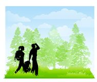 Hikers In The Woods With Backpacks. An illustration featuring a couple hiking in the woods with backpacks Royalty Free Stock Image