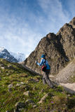 Hikier is climbing mountain in Caucasus Stock Images
